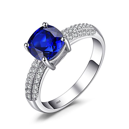 JewelryPalace Cushion 2.6ct Created Blue Sapphire Solitaire Engagement Ring 925 Sterling Silver Size 7 Dark Blue Sapphire Ring