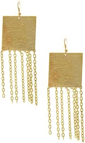 KARMAS CANVAS SCRATCH SQUARE WITH CHAIN DANGLE EARRING
