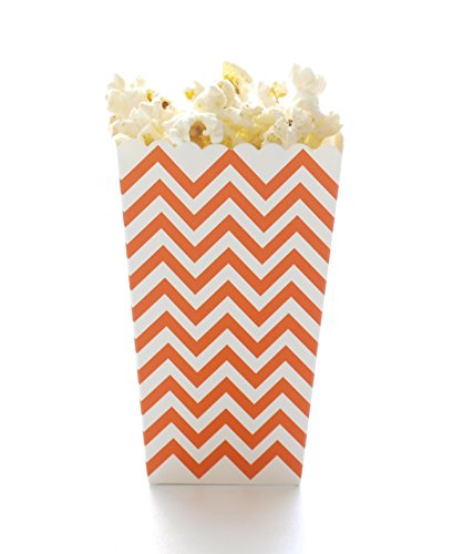 Orange Chevron Popcorn Boxes (12 Pack) - Zig Zag Open Top Movie Theater Style Popcorn Cartons for Wedding Favors & Candy Buffets (Halloween Crafts Candy Holder)