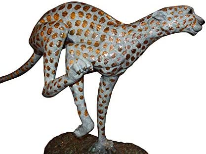 Amazon Com Running Cheetah Gold Pleated Bronze Statue Size 67 L X 23 W X 41 H Home Kitchen