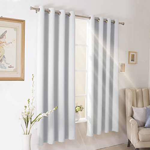 Wontex Blackout Curtains Room Darkening Thermal Insulated with Grommet Curtains for Living Room, 52 x 84 inch, Greyish White, 2 Panels