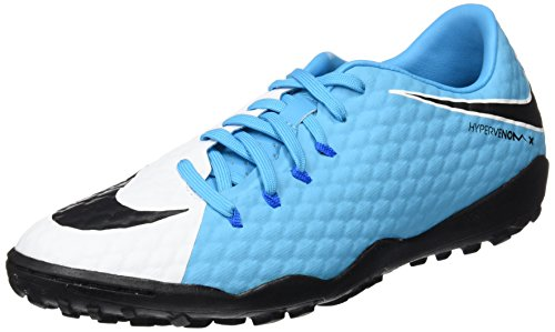 NIKE Hypervenomx Phelon III TF Mens Football Boots 852562 Soccer Cleats (US 8, White Black Photo Blue - Cleats Messi F50