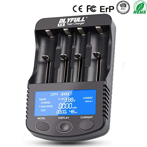 18650 Smart Battery Charger Universal Intelligent Charger LCD Display for 26650 18350 17670 18700 21700 20700 Li-ion IMR INR ICR Ni-MH Ni-Cd AAA AA Batteries(4 Slot Discharge Function)