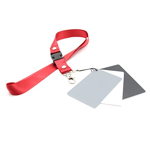 Grey Card Set - Digital 18% Gray/White/Black Card Pocket Size Set Photography Exposure Balance Strap