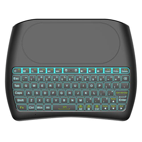 Mitid Backlit Wireless Mini Keyboard with Touchpad RGB Color Mini Keyboard and Mouse Touchpad Remote Control for Computer, Google or Android TV Box, IPTV Smart TV and More