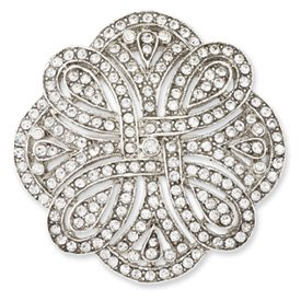Silver-tone Crystal Pin Best Quality Free Gift Box