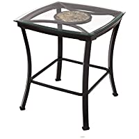 Adeco Glass & black Metal End/Side Table, Metal Frame is Black