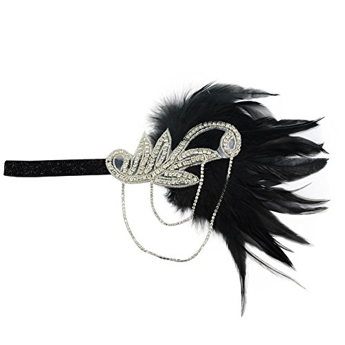 [Song Retro Feather Crystal Headpiece 1920s Flapper Chain Flower Hairband Great Gatsby Headband] (Roaring 20s Costumes Diy)