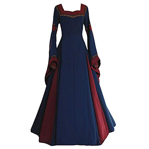 Women's Medieval Dress Halloween Cosplay Costume Lace Up Vintage Floor Length Retro Long Dress (XXL, C-navy+red) -