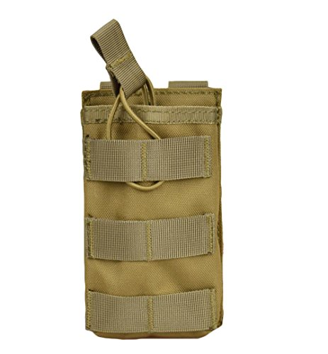 M16 Single (Jadedragon Tactical Airsoft MOLLE Triple Double Single Mag Pouch Holder For M4 M16 AR-15 Magazine (Open Top Version - Single Tan))