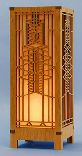 Frank Lloyd Wright Robie House Lightbox Mini Accent Lamp (Shade Table Wood Veneer Lamp)