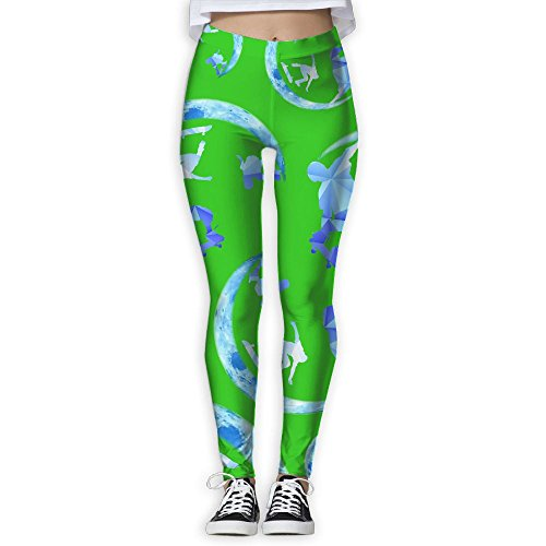 JCOE Yoga Skateboard Moon Lover Printed Women Stretchy Workout Running Yoga Pants Leggings Trousers