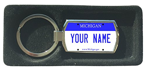 BleuReign(TM) Personalized Custom Name Michigan State License Plate Metal Keychain