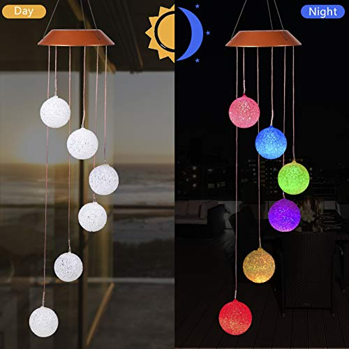 CXFF LED Solar Ball Wind Chimes Outdoor - Waterproof Solar Powered LED Changing Light Color Six Balls Mobile Romantic Wind-Bell for Home, Party, Festival Decor, Night Garden Decoration(Ball) ()