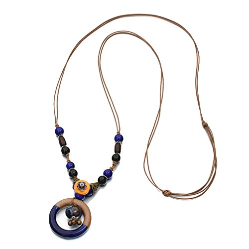 G&T Lady's Jewelry Ethnic Style Ceramic Sweater Chain Long Hollow Circular Pendant Necklace