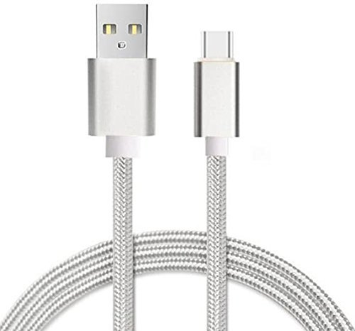I-Sonite (Silver) Premium Quality [ 1 Meter ] USB Micro USB Cable Nylon Braided Fast Charging and Data Transfer Cable for Amigoo R900
