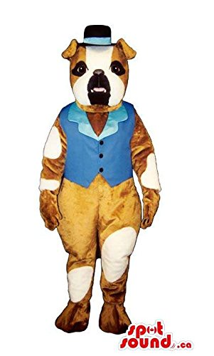 [Cute Pit-Bull Dog Plush Mascot SpotSound US Dressed In Blue Old-Times Gear] (Blue Bull Mascot Costume)
