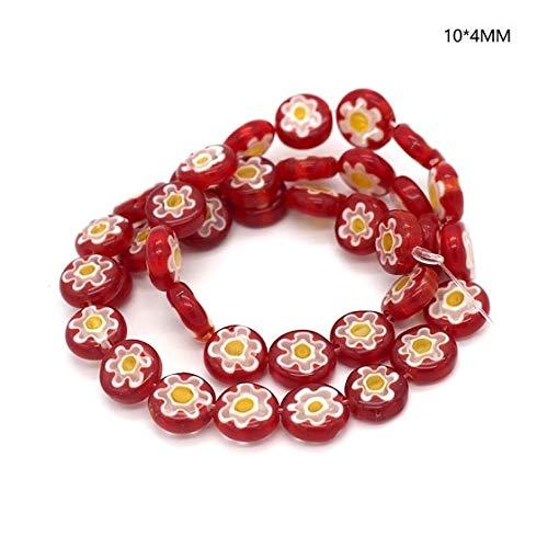 Calvas 40pcs/lot Mix Beautiful Millefiori Glass Lampwork Beads 104 Fit European Accessories Necklace Bracelet Earring DIY Making - (Color: Red, Item Diameter: 10x4mm)