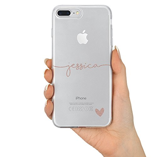 - TULLUN Custom Name & Heart V1 Personalized Clear Soft Gel Phone Case Cover for iPhone Models - Rose Gold Name & Heart - for iPhone X/Xs