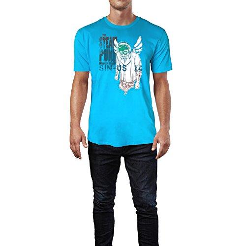 SINUS ART ® Mann mit Schnurrbart – The Steam Punk Herren T-Shirts in Karibik blau Cooles Fun Shirt mit tollen Aufdruck
