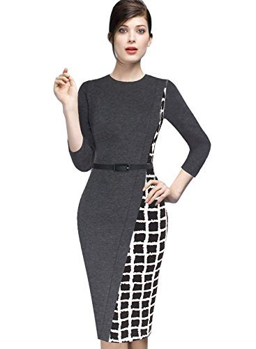 Belted Check (VfEmage Womens Elegant Asymmetric Check Plaid Belted Wear To Work Pencil Dress 8690 Gry 14)