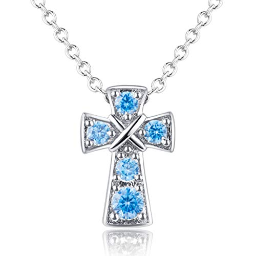 - Karseer Rhodium Plated Christian Cross Pendant Necklace Jewelry with 5 AAA Created Aquamarine Light Blue Birthstones Inlaid Religious Fashion Accessory for Women and Girls