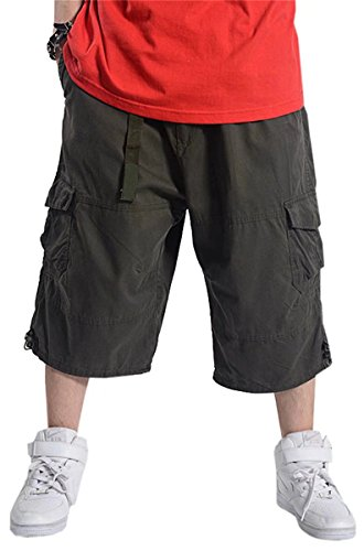 Men's Big & Tall Loose Fit Baggy Multi Pocket Capri Cargo Short, Dark Grey, Tag 50 = US 48 (Capri Drawstring Shorts)