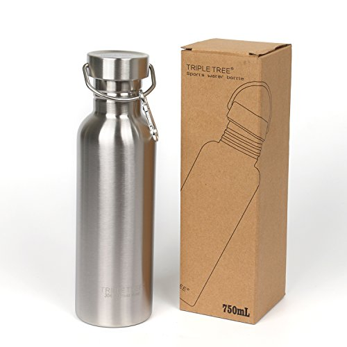 Triple Tree Stainless Steel Water Bottle with Carabiner Single Wall Flask No-Leak For Cycling,Hiking,Outdoor,Camping - BPA Free(17oz/500ml) (Aluminum Triple Tree)