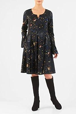 eShakti Women's Constellation print crepe empire dress
