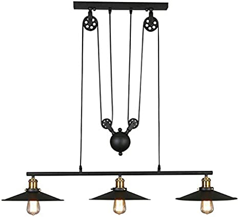 Cheerhuzz Diy Vintage Industrial Retro Black Metal Pendant Light Lamp 3 Lights Adjustable Pulley Lighting Fixtures For Bar Cafe Kitchen Pl630 Amazon Com