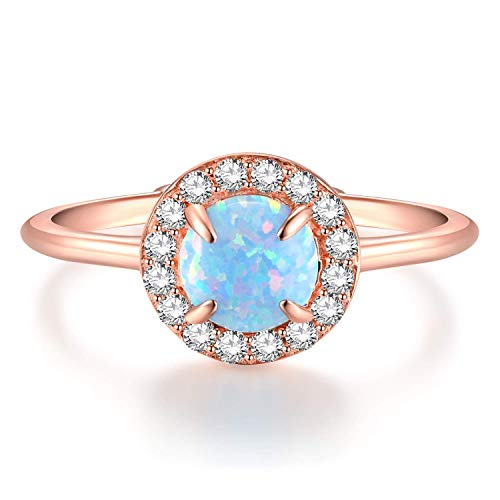 (EAMTI Wrap Adjustable 925 Sterling Silver Turquoise Cubic Zirconia Decmeber Birthstone Wedding Engagement Ring ... (Opal-Rose Gold))
