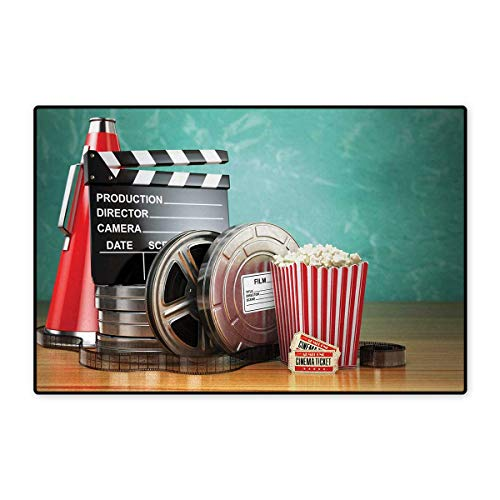 (Movie Theater,Door-mat,Production Theme 3D Film Reels Clapperboard Tickets Popcorn and Megaphone,Door Mats for Inside Bathroom Mat Non Slip,Multicolor 16