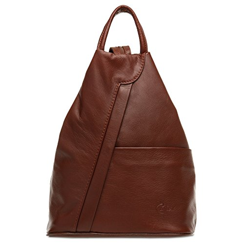 1 Backpack made of Leather 2 Shoulder City Maroon in Women CASPAR Bag Genuine TL782 wptFTqYY