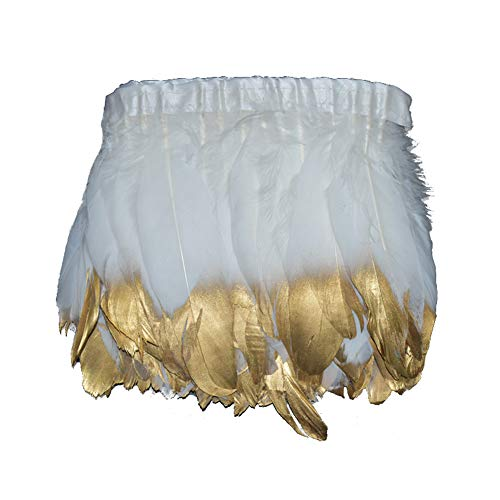 MIPPER 2 Yards 6~8 Inch Wide Goose Feather Fringe Trim with Tip Spray Gold/Silver for Clothing Party Wedding Decoration (White Gold) ()
