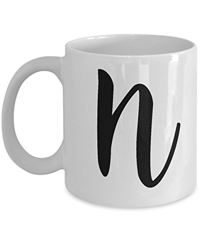 Initial Mug - Letter N Monogram - Cute Novelty Monogrammed Coffee Cup - Perfect Personalized Bridal Shower Or Wedding Gift For Women And Men - Unique Name Gift Idea For Tea Lovers - 11 oz ()