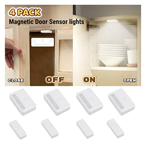 Amagle 4 Pack Magnetic Door Sensor Wireless Closet Light Stick Led Puck Lights Lighting for Wardrobe Drawer Cupboard Cabinet Window Hotel Kitchen Basement Garage (AAA Batteries Operated Not Included)