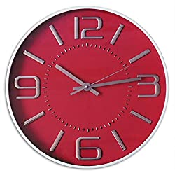 Decor Silent Wall Clock 12 inches 3D Numbers Arabic Red Dial Non-ticking Decorative Wall Clock Battery Operated Round Easy to Read For Home/School/Hotel/Office