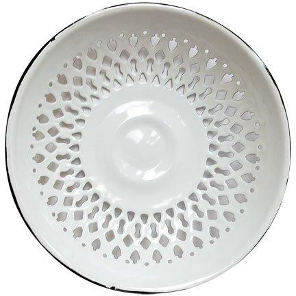 Vintage Look Enamel Vented Bread Bowl Plate Rolls Fruit Bowl - Plate Blue Onion Bread