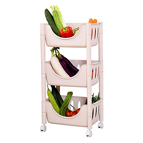 ction Adjustable Cart Fruit Bread Basket Shelf Kitchen Storage Shelving Unit Rack (Pink, 3-Tier) ()