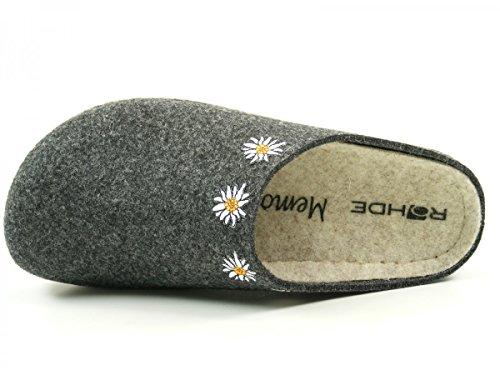 Rohde 6012-87 Riesa Schuhe Damen Hausschuhe Pantoffeln Filz Grau