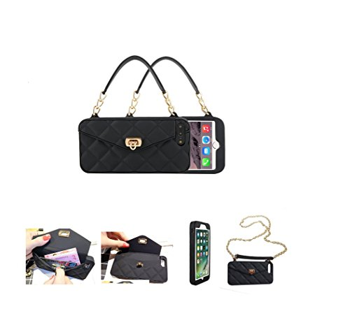 (iPhone 7 Plus & 8 Plus & 6 Plus & 6s Plus Wallet Purse Case with Credit Card Holder for Women Girly Silicone Rubber with Chain Shoulder Strap Crossbody Bumper Defender)