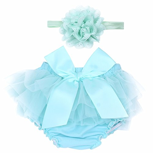 FEESHOW Infant Baby Girls Bow-Knot Tulle Ruffle Bloomers Shorts Diaper Cover with Flower Headband Set Photography Outfit Sky Blue 0-6 Months