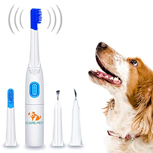 Dog Ultrasonic Tartar Remover with Pet Electric Toothbrush | 3 pcs Vet Dental Scaler Tips Switchable | for Home Clinic and Pet Groomer User