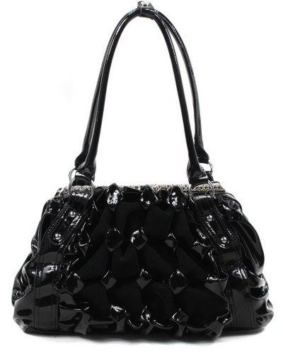 Suede Patchwork Bag (Generous Mix Suede Satchel Handbag/ Shoulder Bag/ Fashion Bag)