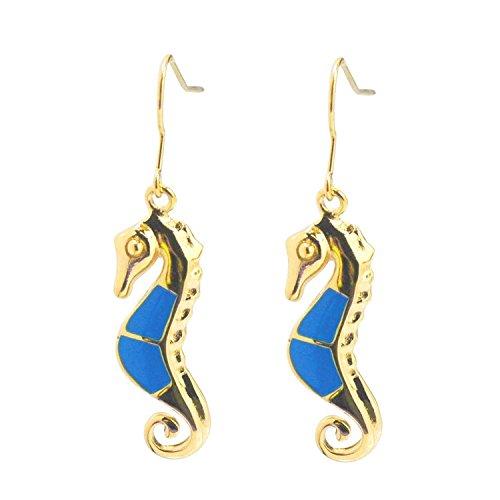 (De Buman 14k Yellow Gold Plated Enamel Sea Horse Earrings)