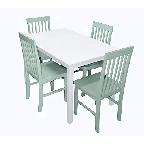 WE Furniture 5-Piece Chic Wood Dining Set, Green (Green Set Table Dining)