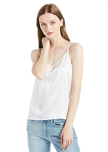 Dos Soie Pure Manche En Décolleté Top Débardeur Blanc Momme Ajustables Uni 22 Fines Caraco Femme Lilysilk Bretelles Sans nqCwH6W1FF