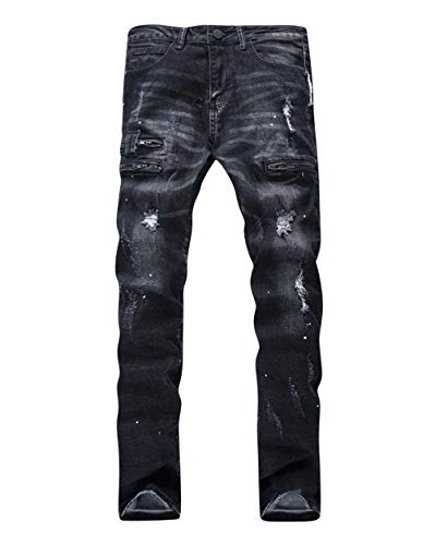 Nero Semplice Da Denim Uomo Pantaloni In Strappati E Stile Vintage Classici Tasche Effetto Jeans Con WqU4Bgpwx1