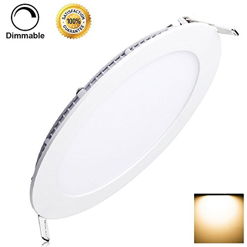 12W Dimmable LED Panel Light Flat Lamp Round Ultra-Thin Recessed Ceiling Light Downlight Fixture Kit Warm White 3000K 80W Incandescent Equivalent with LED Driver by JerryLamp by JerryLamp
