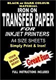 Inkjet Printable Iron On T Shirt & Fabric Transfer Paper For Dark Fabrics 10 A4 Sheets